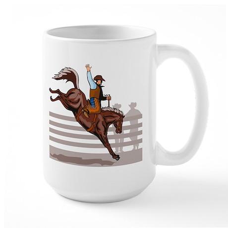 Rodeo Cowboy riding Large Mug