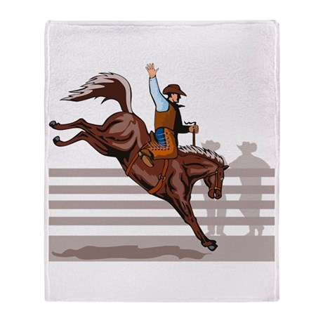 Rodeo Cowboy riding Throw Blanket