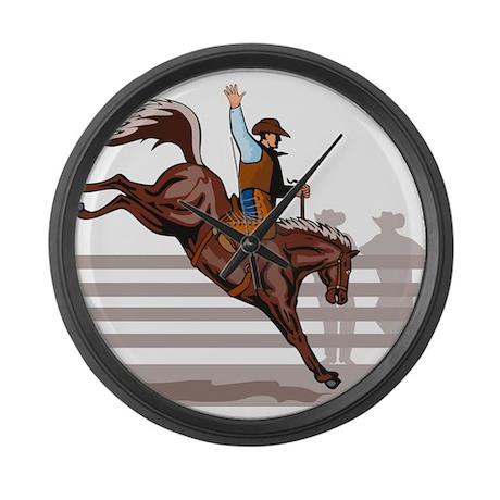 Rodeo Cowboy riding Large Wall Clock