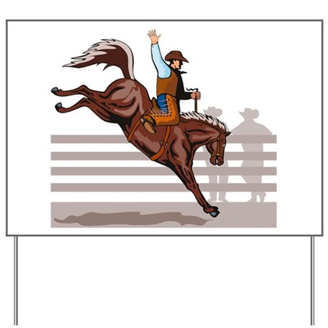 Rodeo Cowboy riding Yard Sign