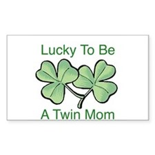 Lucky To Be A Twin Mom Rectangle Decal
