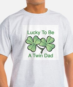 Lucky To Be A Twin Dad Ash Grey T-Shirt