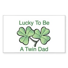 Lucky To Be A Twin Dad Rectangle Decal