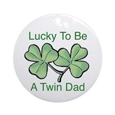 Lucky To Be A Twin Dad Ornament (Round)