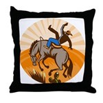 cowboy riding horse Throw Pillow