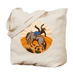 cowboy riding horse Tote Bag
