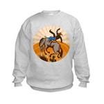 cowboy riding horse Kids Sweatshirt