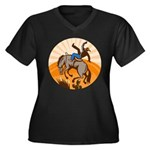 cowboy riding horse Women's Plus Size V-Neck Dark