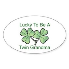 Lucky To Be A Twin Grandma Oval Decal