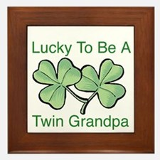 Lucky To Be A Grandpa of Twin Framed Tile