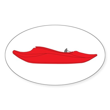 Red Playboat Sticker (Oval)