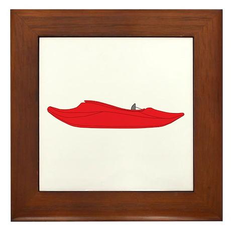 Red Playboat Framed Tile