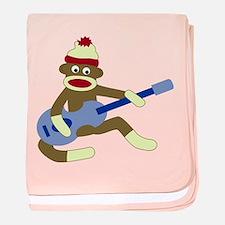 Sock Monkey Blue Guitar Infant Blanket