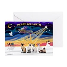 X-Sunrise-Five Siamese Greeting Card