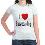 I Love Snowboarding (Front) Jr. Ringer T-Shirt
