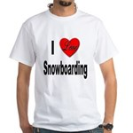 I Love Snowboarding (Front) White T-Shirt