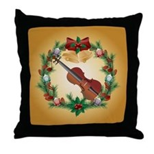 Violin Christmas Music Throw Pillow