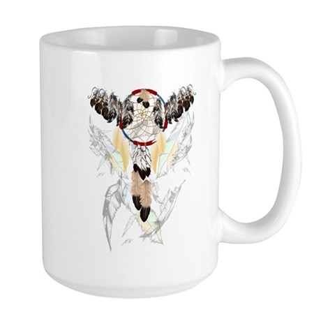 Dream Catcher and Feathers(small) Large Mug