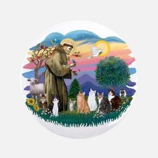 "St Francis (ff)-7 Cats 3.5"" Button"