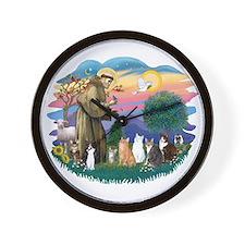 St Francis (ff)-7 Cats Wall Clock