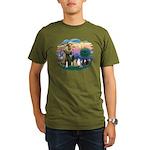St Francis (ff)-7 Cats Organic Men's T-Shirt (dark