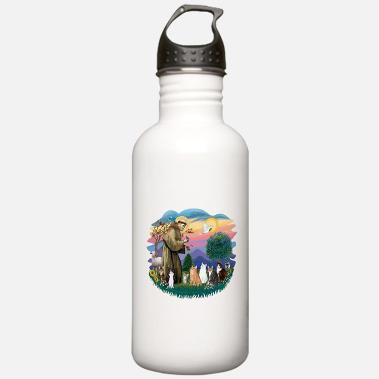 St Francis (ff)-7 Cats Water Bottle