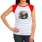 St Francis (ff)-7 Cats Women's Cap Sleeve T-Shirt
