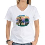 St Francis (ff)-7 Cats Women's V-Neck T-Shirt