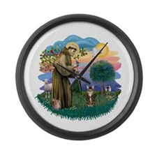 St Fran (ff) - Brown Tabby Cat Large Wall Clock