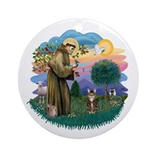 St Fran (ff) - Brown Tabby Cat Ornament (Round)