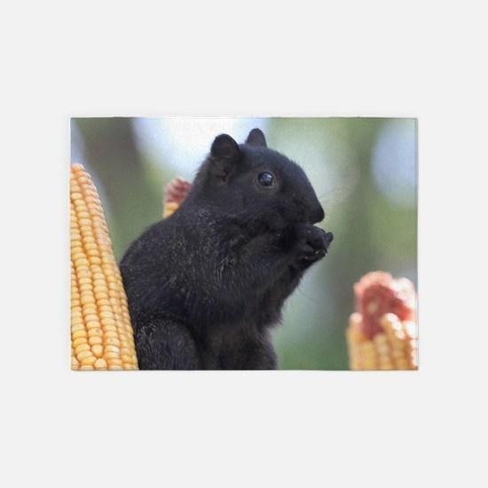 Black squirrel 5'x7'Area Rug