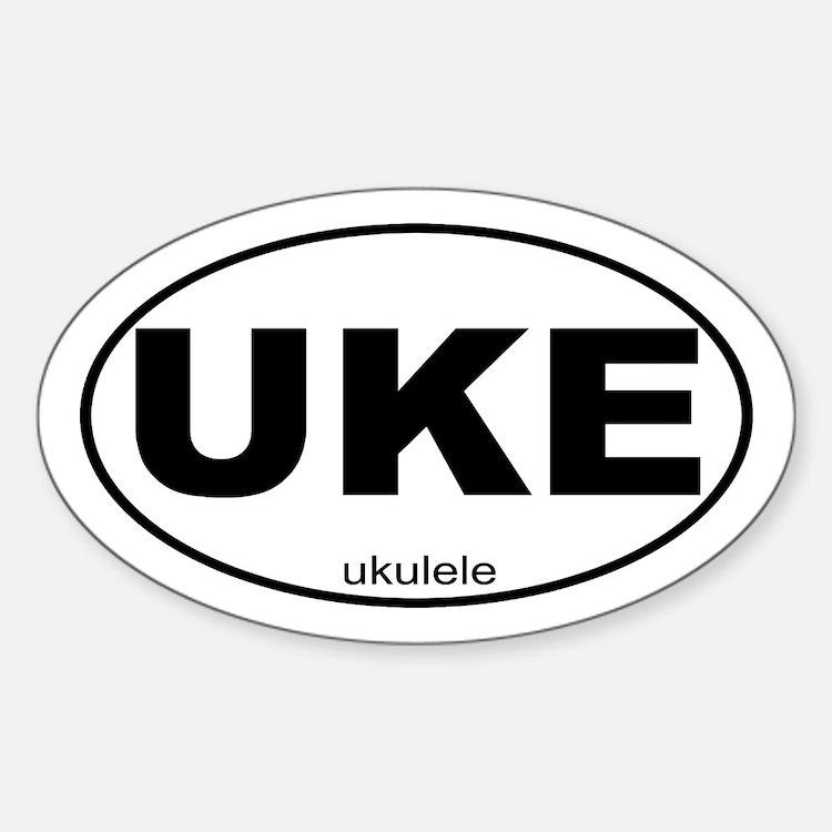 UKE Ukele Music Sticker (Oval)