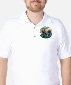 St Fran (ff) - Black/White cat Golf Shirt