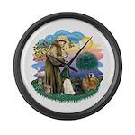 St Fran (ff) - 3 Persian Cats Large Wall Clock