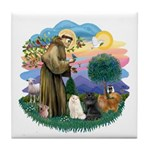 St Fran (ff) - 3 Persian Cats Tile Coaster