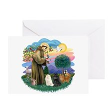 St Fran (ff) - 3 Persian Cats Greeting Card