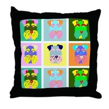 Schnauzer Pop Art Throw Pillow