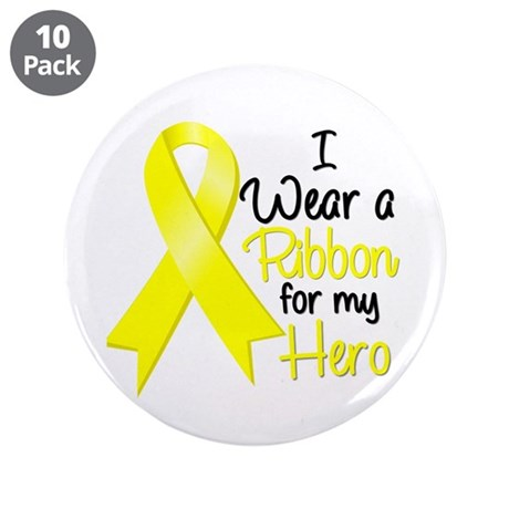 "I Wear a Ribbon Hero 3.5"" Button (10 pack)"