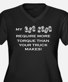 Lug Nuts Women's Plus Size V-Neck Dark T-Shirt