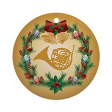 French Horn Christmas Music Ornament (Round)