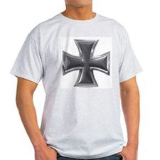 Black & Chrome Iron Cross Ash Grey T-Shirt