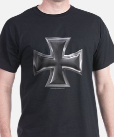 Black & Chrome Iron Cross Black T-Shirt