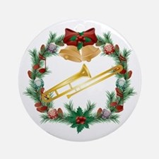 Christmas Trombone Music Ornament (Round)