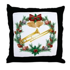 Christmas Trombone Music Throw Pillow