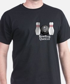 Bowling Queens Logo 4 T-Shirt Design Front Po