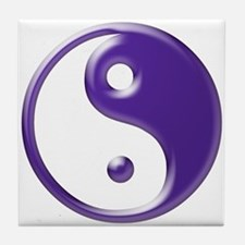 Purple Yin Yang Tile Coaster