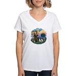 St Fran (ff) - 3 Siamese Women's V-Neck T-Shirt