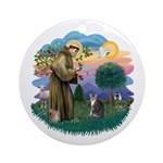 St Fran (f) - Tabby & White Ornament (Round)