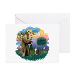 St Fran (f) - Tabby & White Greeting Cards (Pk of