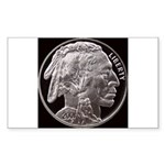 Silver Indian Head Rectangle Sticker